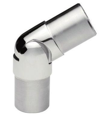 Rotule articulée 0-70° pour tube Ø43mm en inox 316l, finition poli miroir ou brossé.