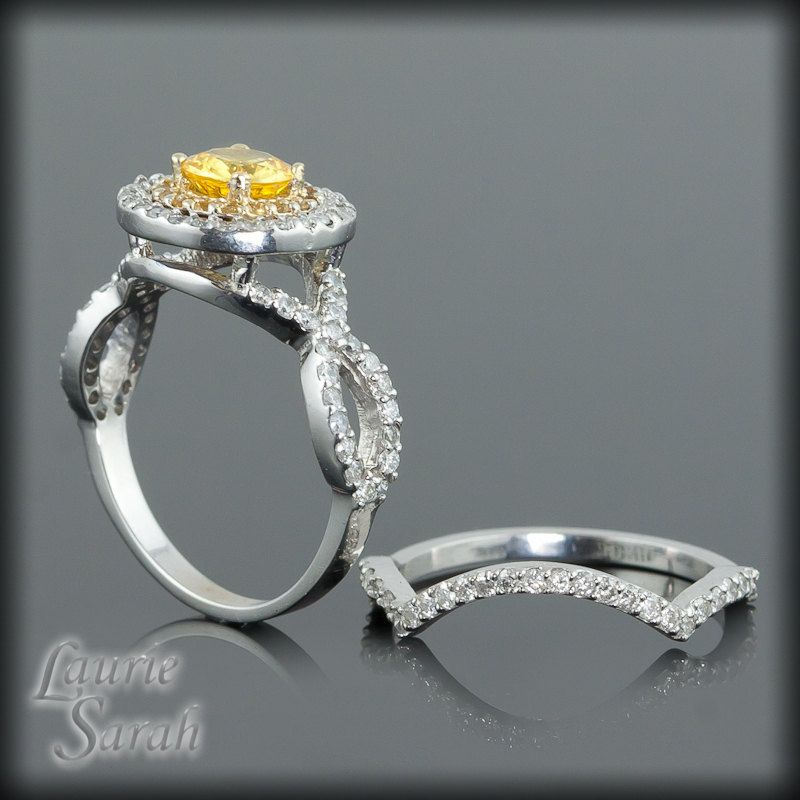 Yellow Sapphire and Diamond Double Halo by LaurieSarahDesigns, $2,932.20
