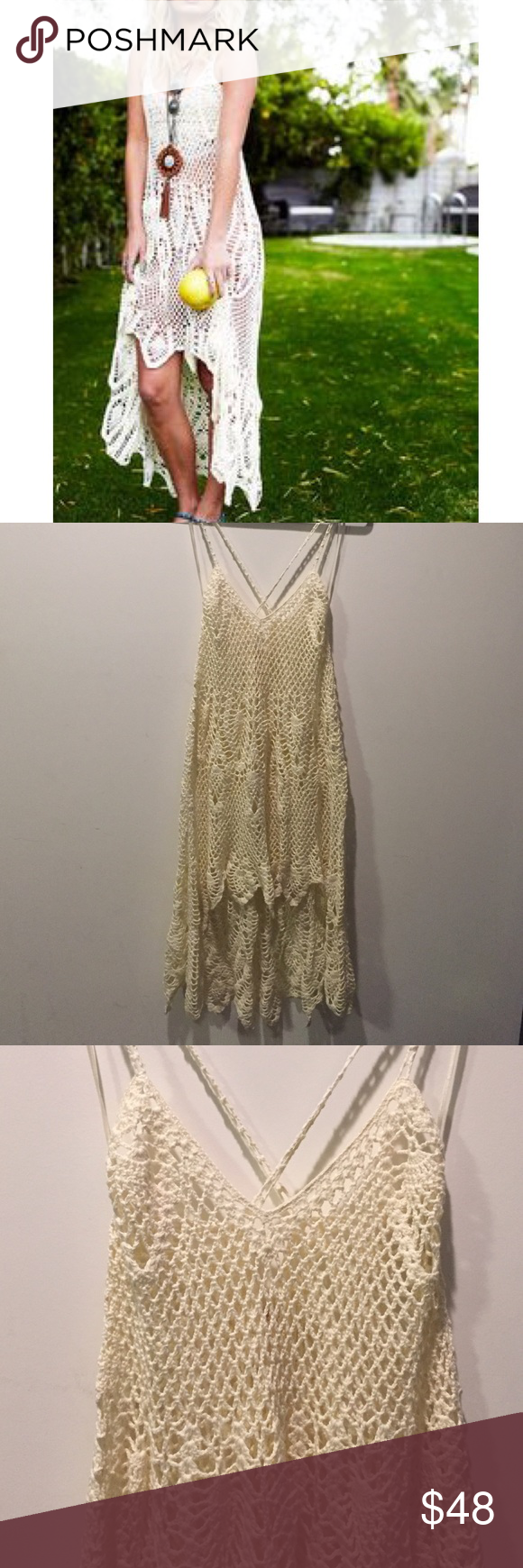 Free People Crochet Dress Stitch crochet dress with high low scalloped hem. Skinny straps that criss cross in the back. In like new condition. Free People Dresses Asymmetrical