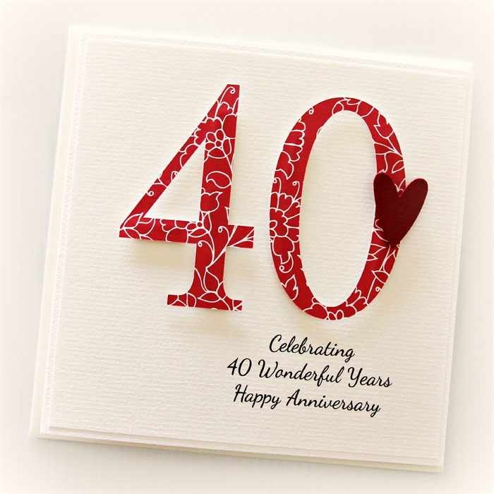 40 Best American Stationery Gifts Images On Pinterest: Personalised 40th Anniversary Card Wedding Anniversary