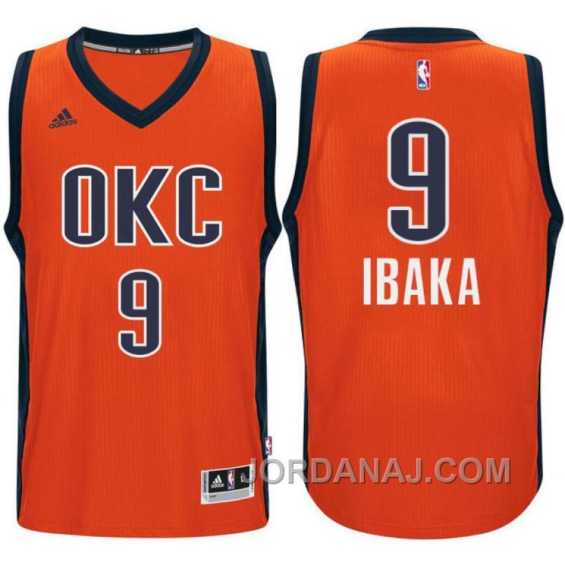 076b0c1ef Serge Ibaka Oklahoma City Thunder  9 2015-16 Season Alternate Orange Jersey