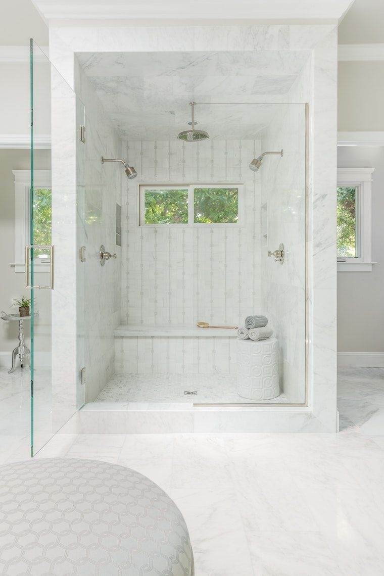 Custom shower with mosaic tile, custom glass enclosure, and double ...