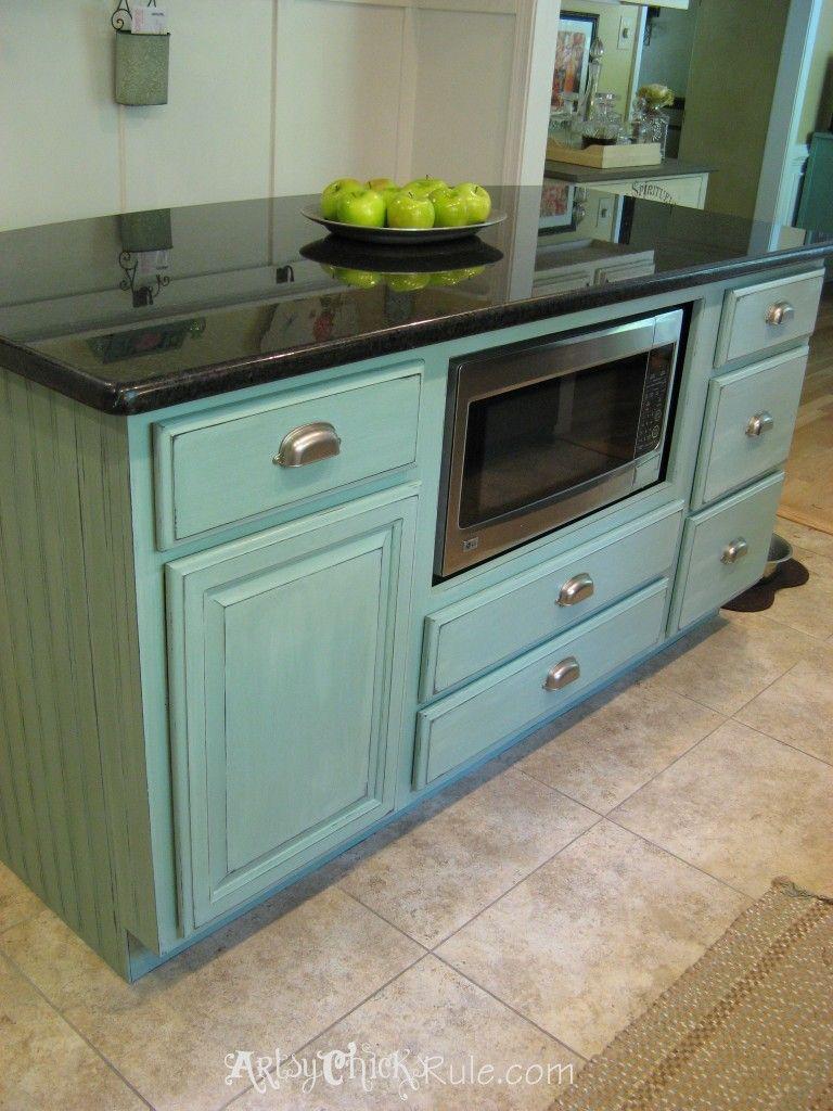 Kitchen Island kitchen island makeover pictures : Kitchen Island Makeover - Duck Egg Blue Chalk Paint | Blue chalk ...