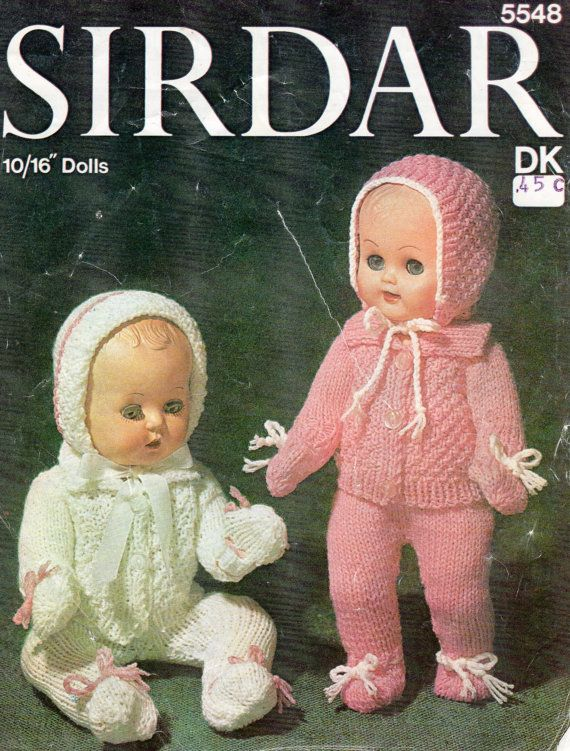 Vintage Doll Clothes Knitting Pattern 8ply by LoveFromNewZealand