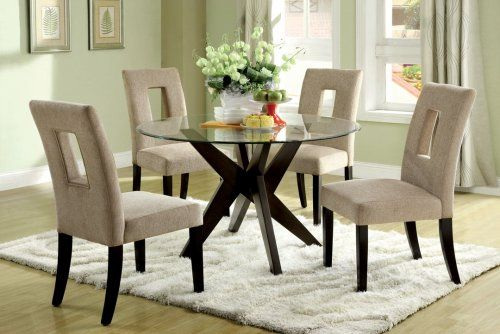 GB3772T - Nancie Espresso Finish Contemporary Style Dining Table + 4 Chairs - Furniture2Go