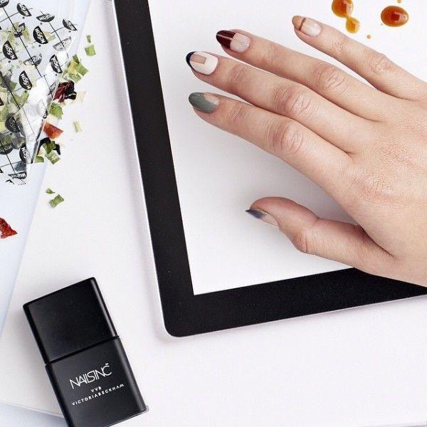 Geometric mismatched nail art