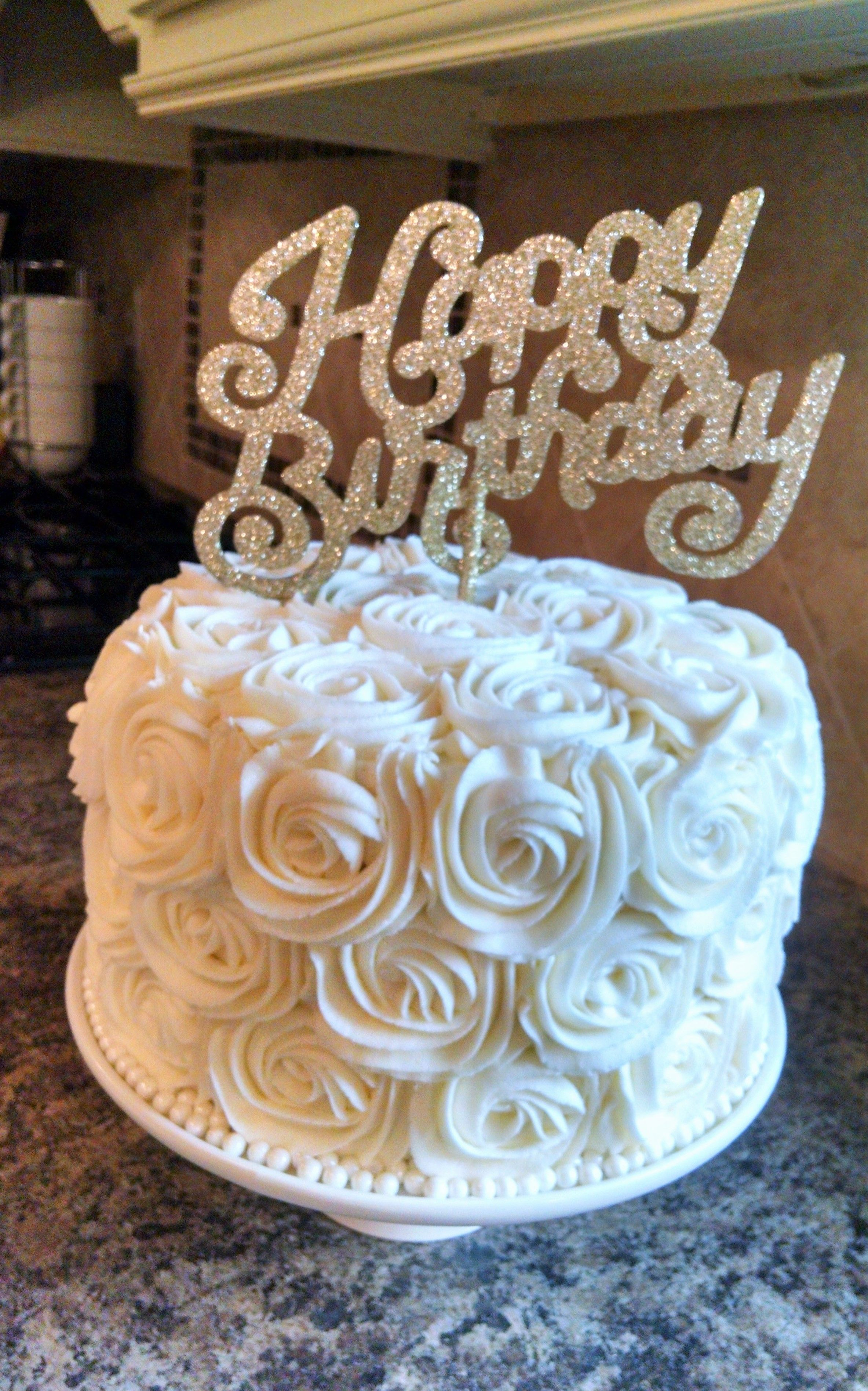 Grandma S 80th Birthday Cake White Rosette Cake