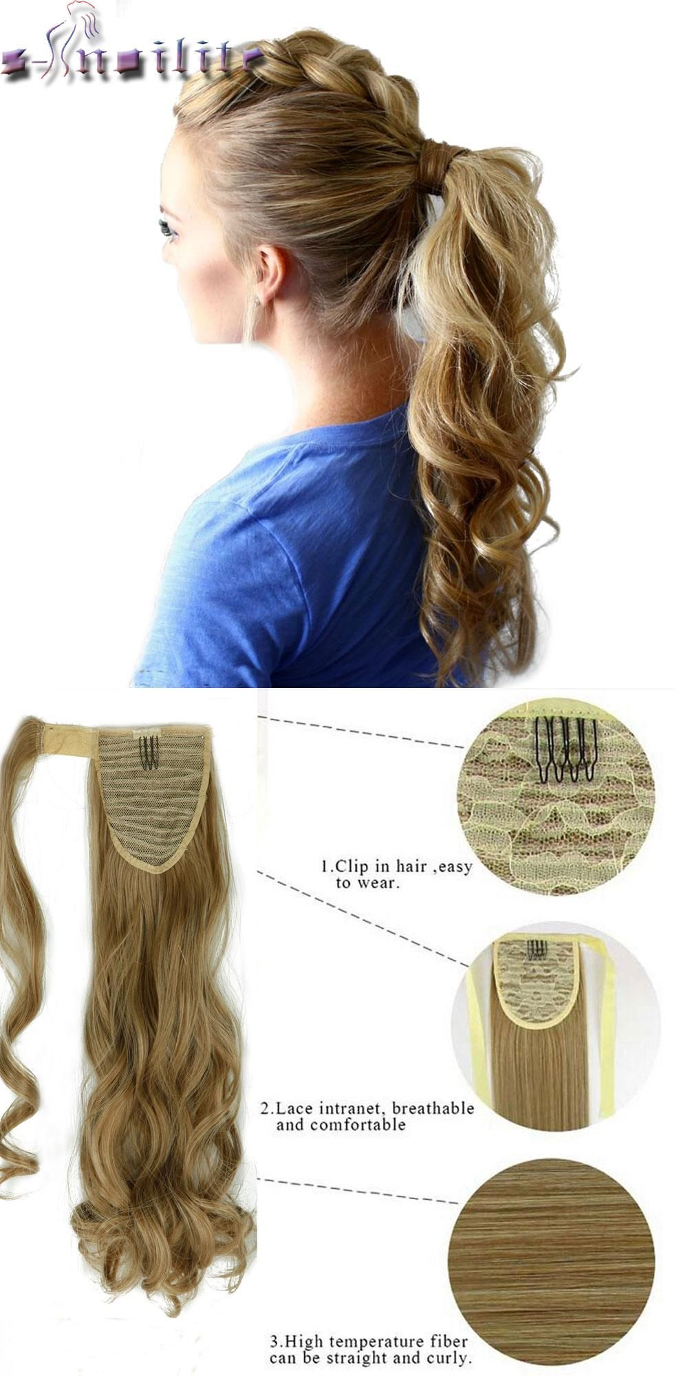 S Noilite 43cm Long Wavy Real Natural Ponytail Clip In Pony Tail