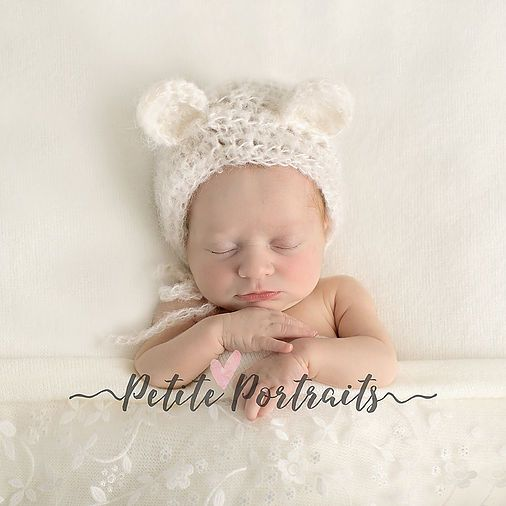 Baby in teddy hat award winning newborn photography safety trained member of banpas