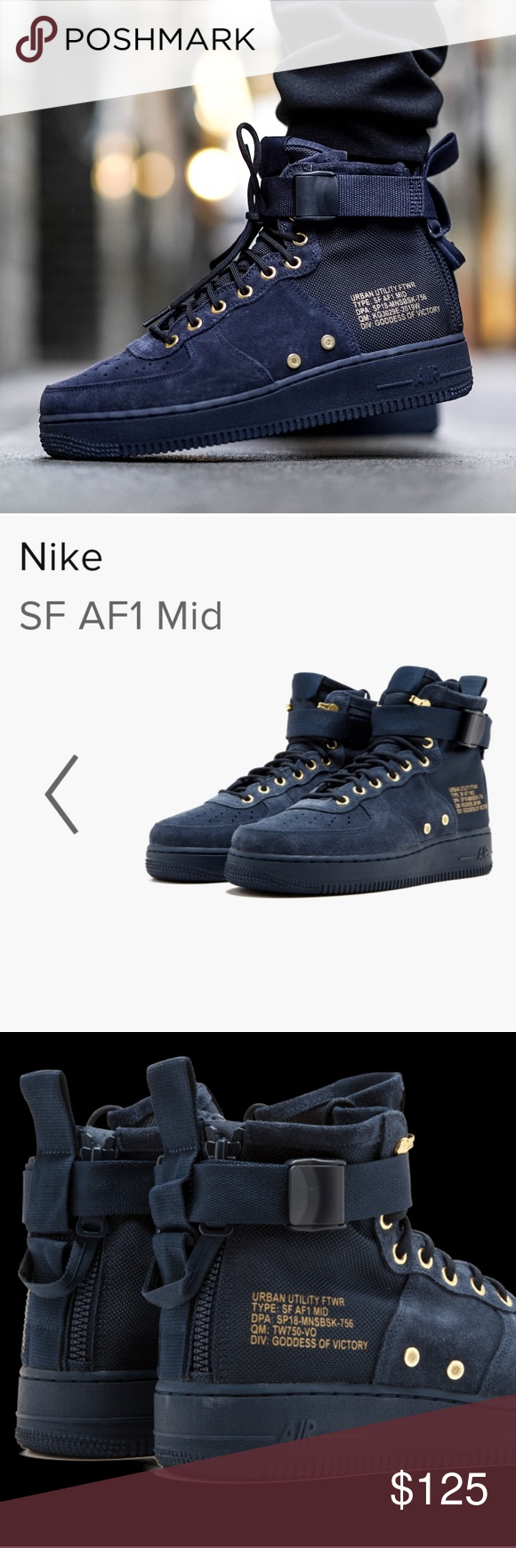 Nike mens SF Air Force 1 MID blue size 12