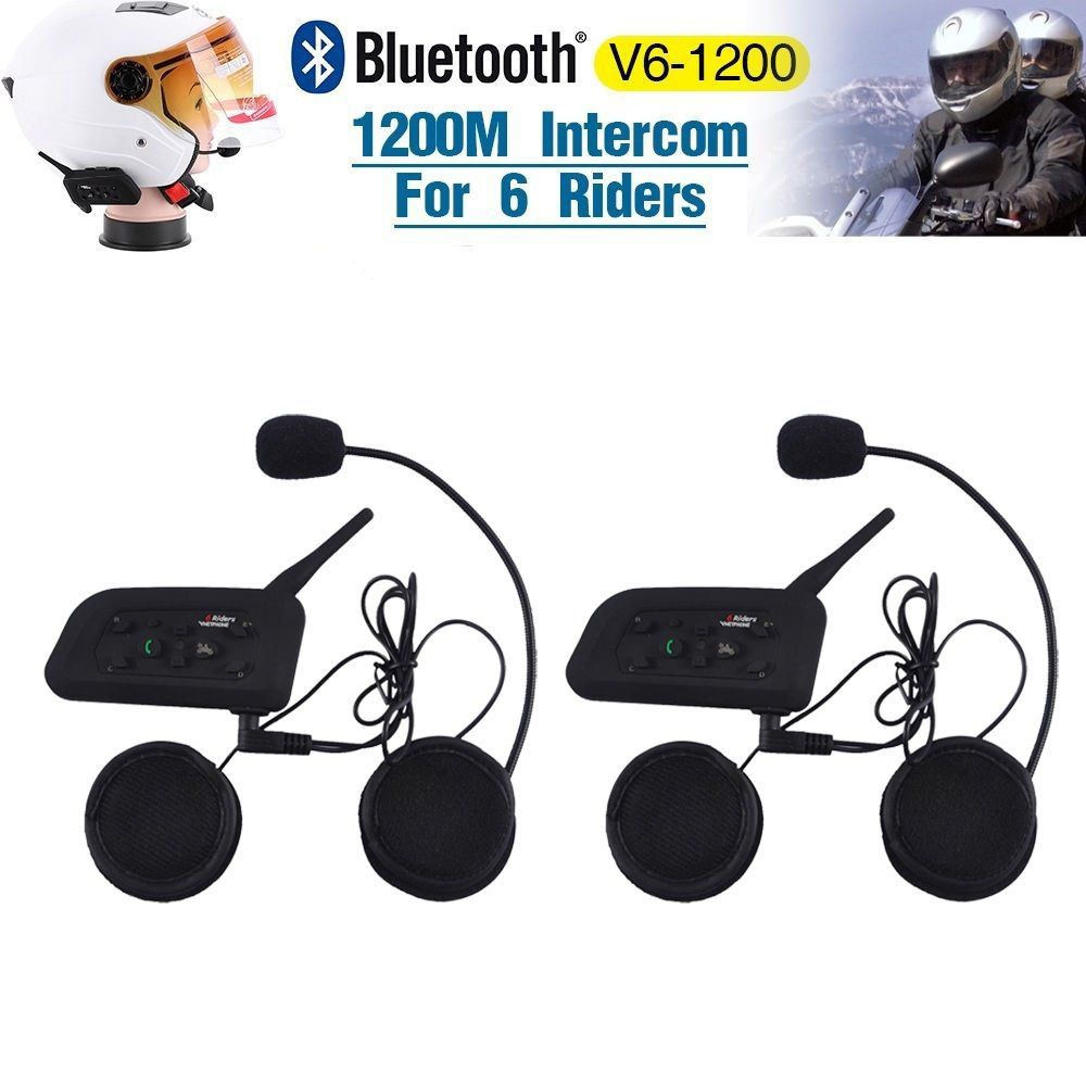 2 Pack Motorcycle Helmet Bluetooth Headset Intercom Full
