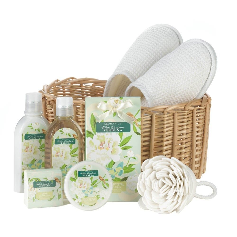 7d78766dacbe1 Bath And Body Spa Gift Basket Set Bath Essentials White Gardenia   HomeLocomotion