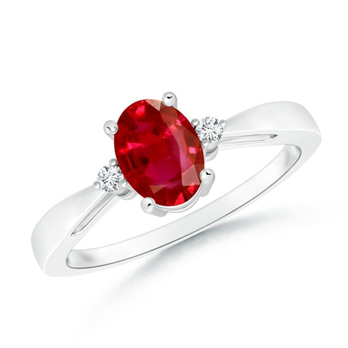Angara Solitaire Oval Ruby Bypass Ring with Diamond Accents in Yellow Gold IPfR0