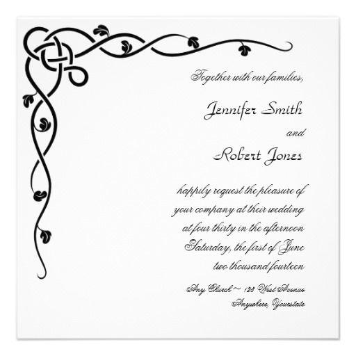 Black Celtic Knot Corner Vine Wedding Invitation Celtic wedding - wedding announcement template