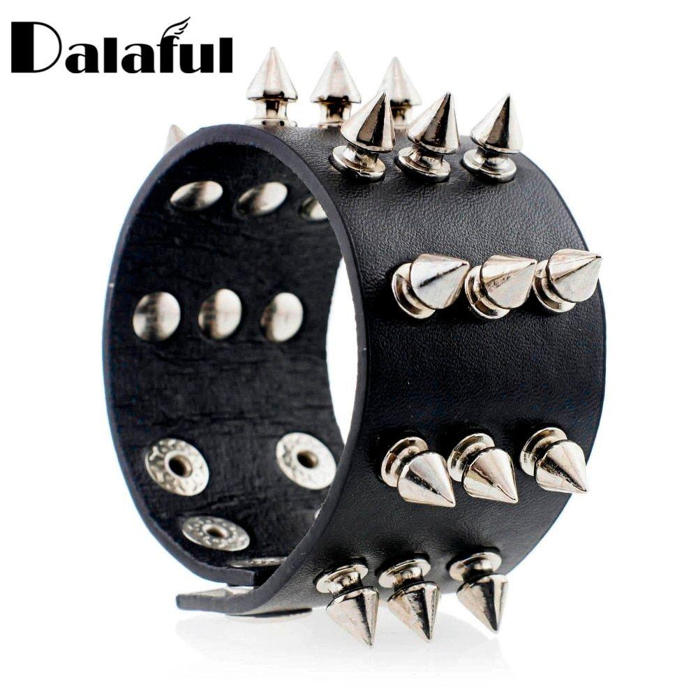 Metal Cone Stud Rivet Spike Punk Leather Bangle Cuff Bracelet Wristband