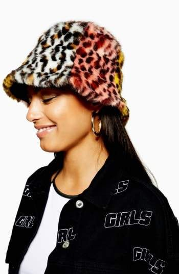 19425ed616e78 Topshop Mixed Animal Print Faux Fur Bucket Hat | Fashion AW18/19 ...