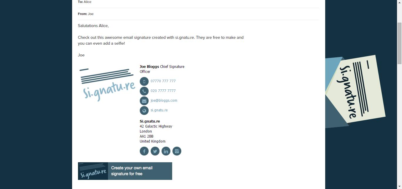 HTML Email Signature si.gnatu.re // Free & Affordable