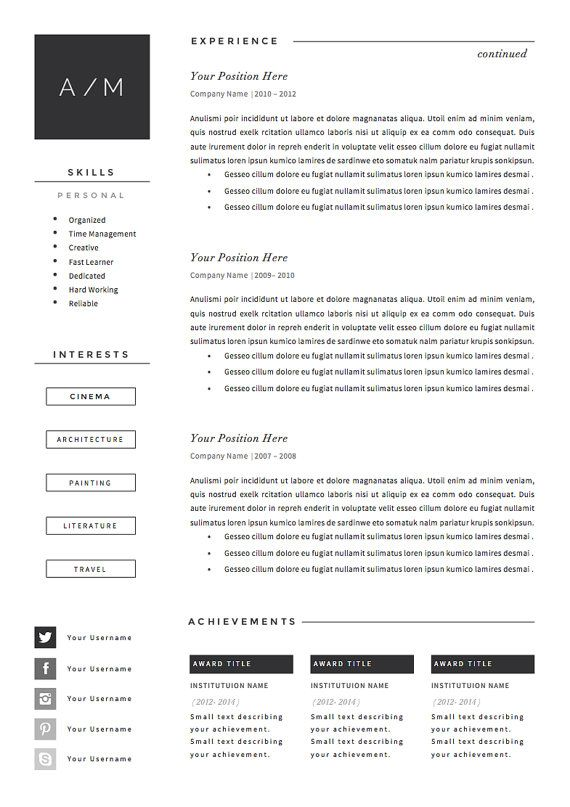 5 Page Resume Cv Template Cover Letter References For Etsy In 2020 Resume Template Cv Template Resume Cv