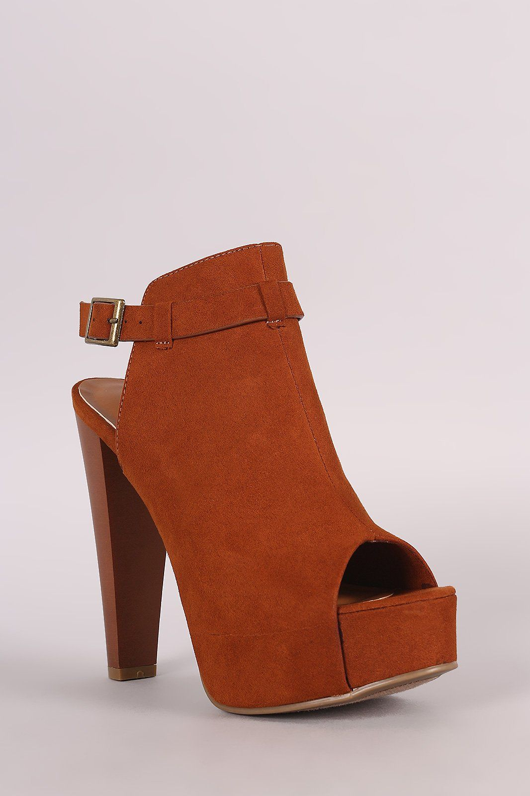 cb67ded7a96 Bamboo Suede Chunky Heeled Booties