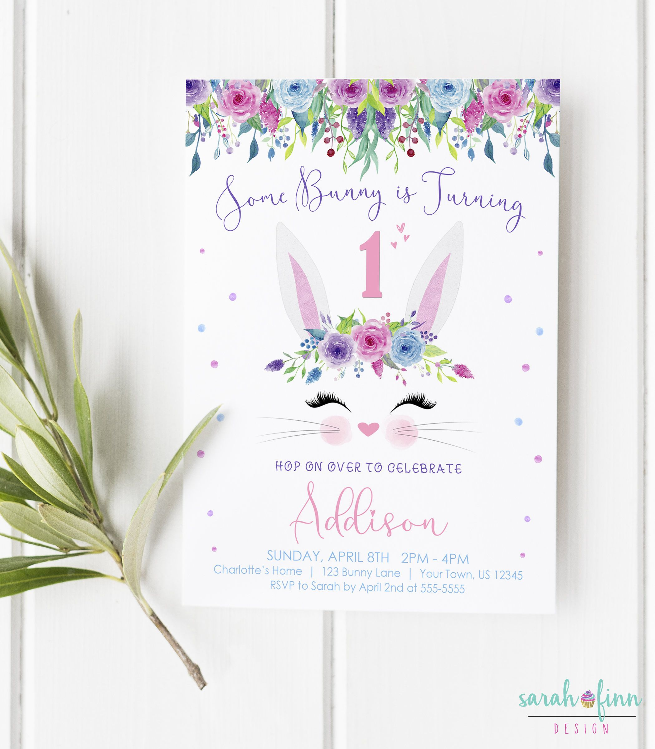 Some Bunny Birthday Invitation Girl First Birthday Bunny Invitation ...