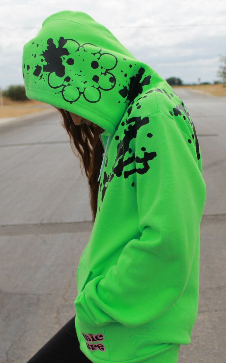 Intrinsic Couture Neon Green Flex Fleece Zip Splattered Hoodie