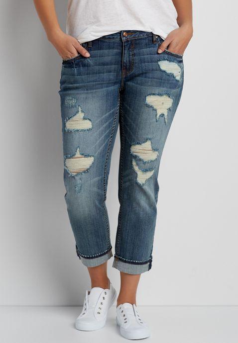 1f14091d1a5 Vigoss ® plus size medium wash tomboy jeans with destruction ...