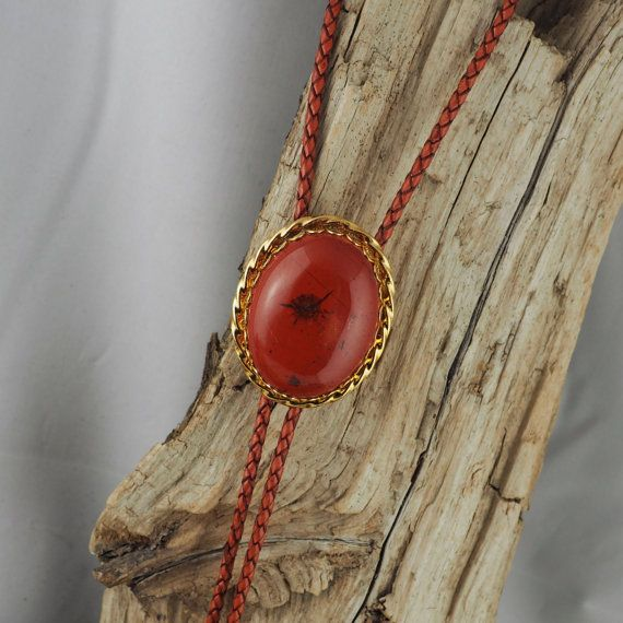 Cowboy Bolo Tie Necklace Brass Bolo Tie Natural Red Jasper Bolo Tie Western Bolo Tie
