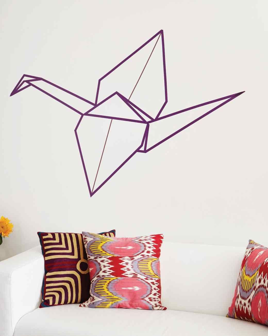 washi tape origami crane wall art empty wall origami. Black Bedroom Furniture Sets. Home Design Ideas