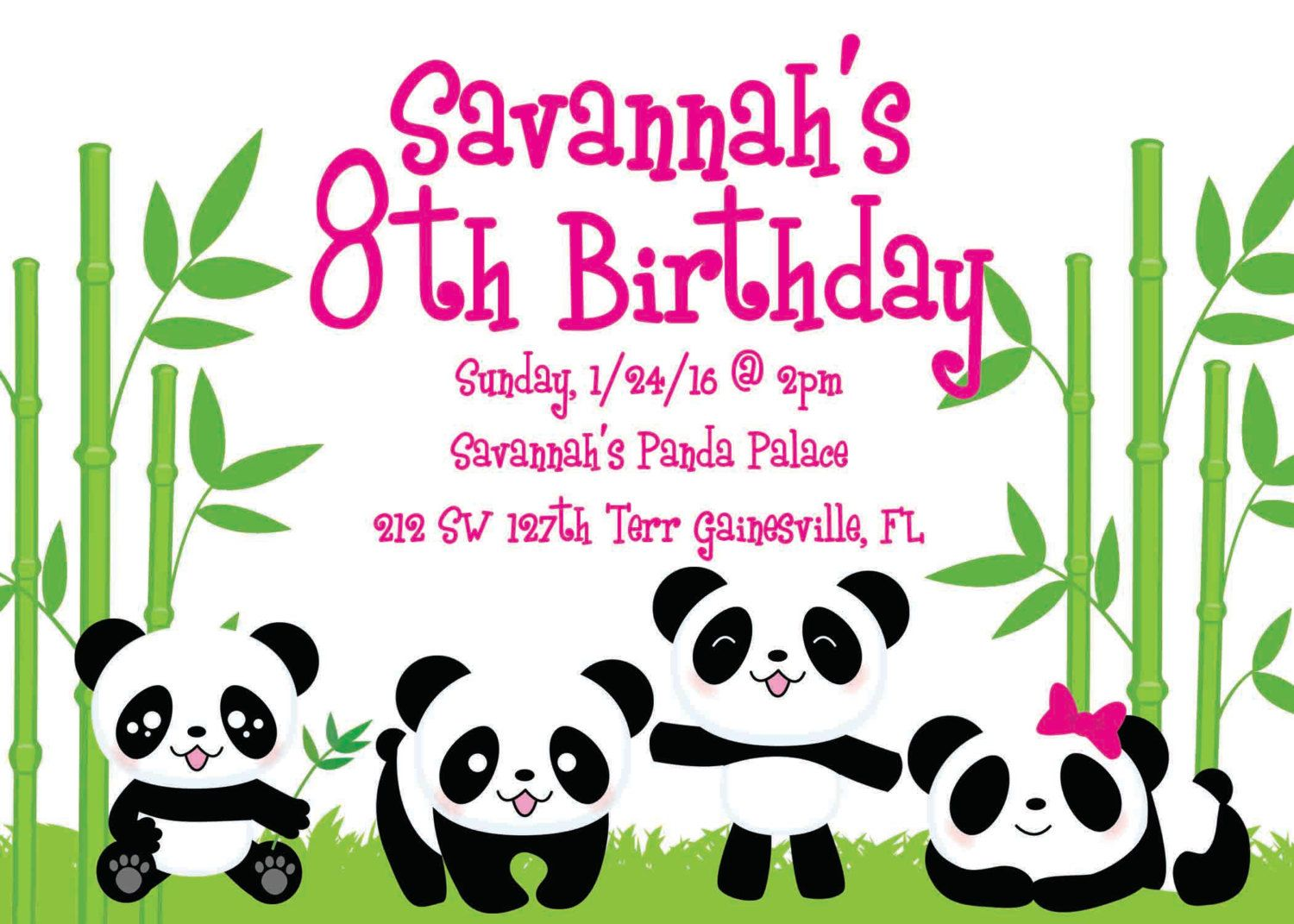 Panda Party Birthday Invitation By GurleyGirlBoutique On Etsy