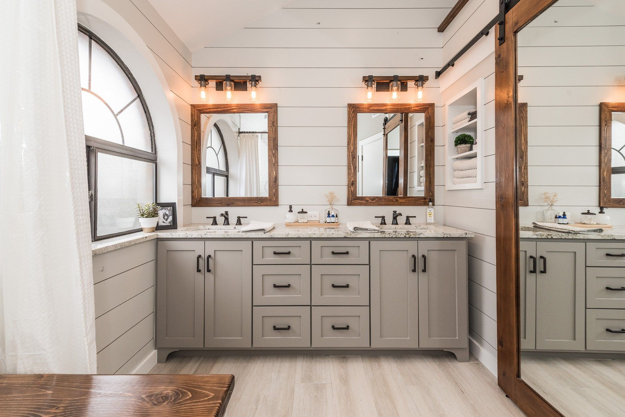 Shiplap crushed ice by sherwin williams vanity pavestone by sherwin williams walls pussywillow by sherwin williams trim extra white by sherwin williams