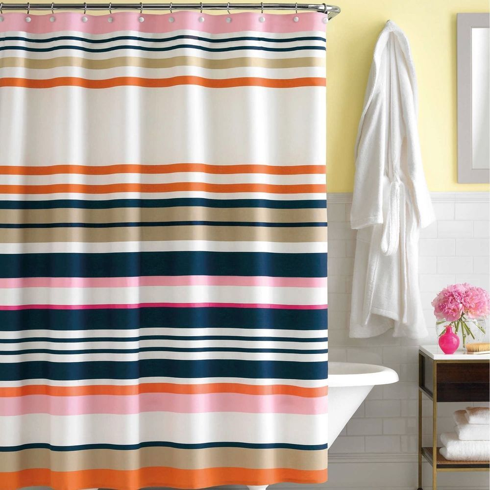 Kate Spade Candy Shop Stripe Fabric Shower Curtain Navy Pink
