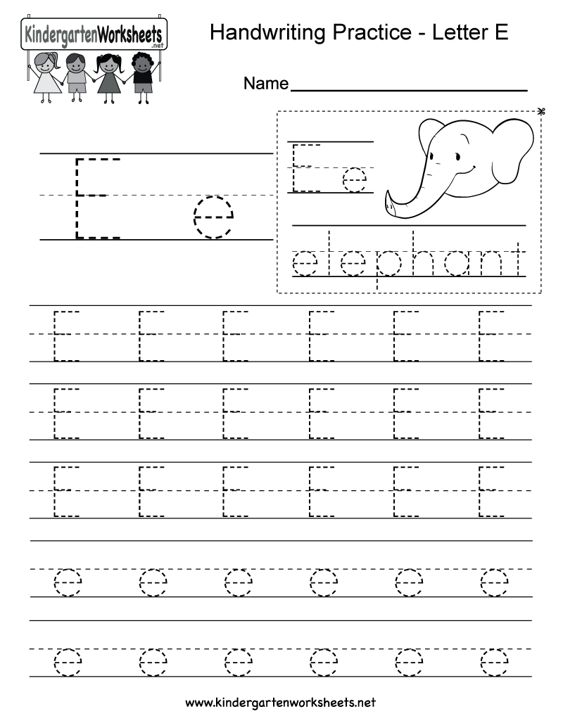Letter E Writing Practice Worksheet. This series of handwriting ...