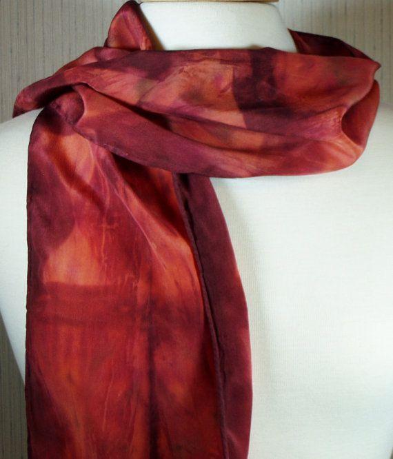 Women's Silk Crepe de Chine Shibori Scarf by FlingamoScarves, $40.00