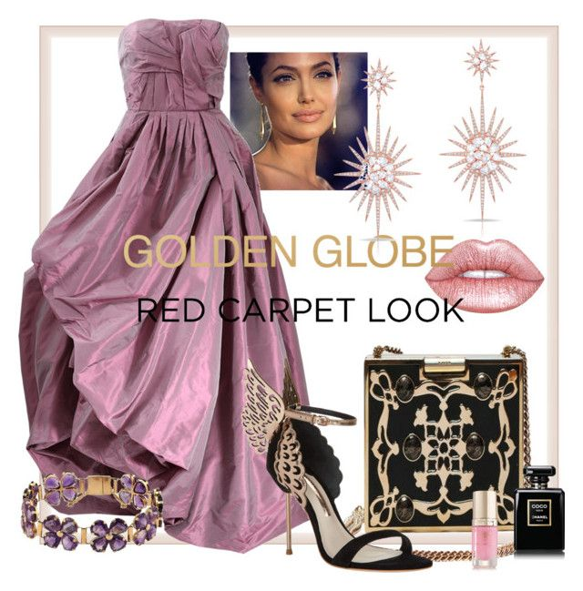 """""""Golden Globe - Red Carpet Look VI by JH"""" by jonna-hansen ❤ liked on Polyvore featuring Oscar de la Renta, Lime Crime, Emilio Pucci, Anne Sisteron, Sophia Webster and Margaret Dabbs"""