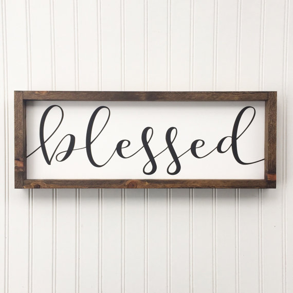 Blessed Framed Wood Sign, Cursive Handwritten Font, Rustic