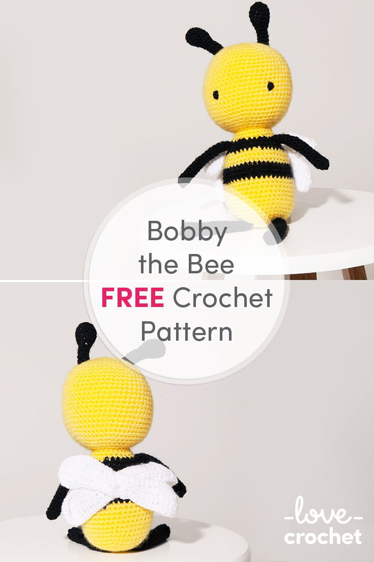FREE Bobby the Bee crochet pattern available at LoveCrochet.Com ...