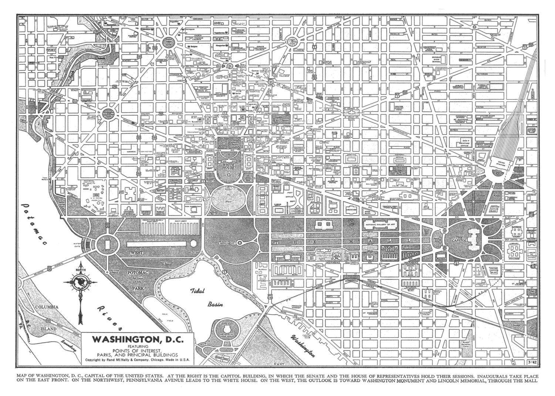 1944 Washington Dc Street Map Vintage 11x14 12 95 Via Etsy
