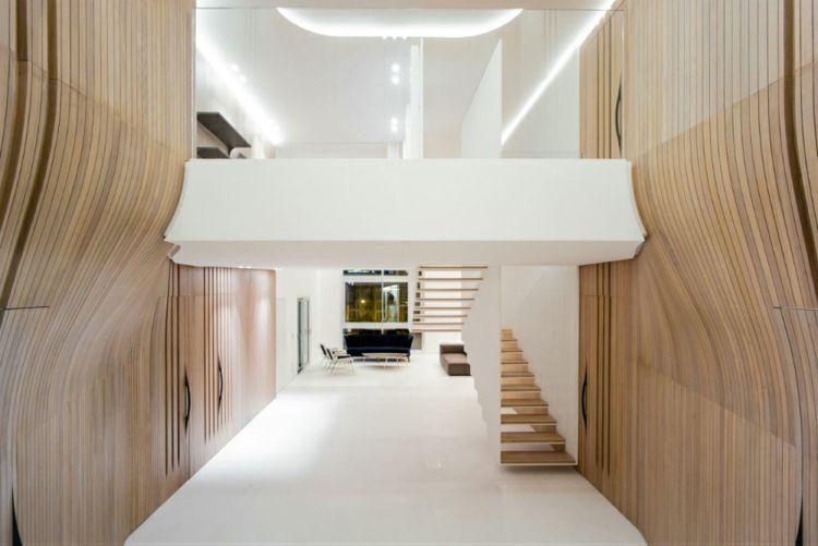 wadi penthouse moderne gewölbte holzverkleidung innen weißer - holzverkleidung innen modern