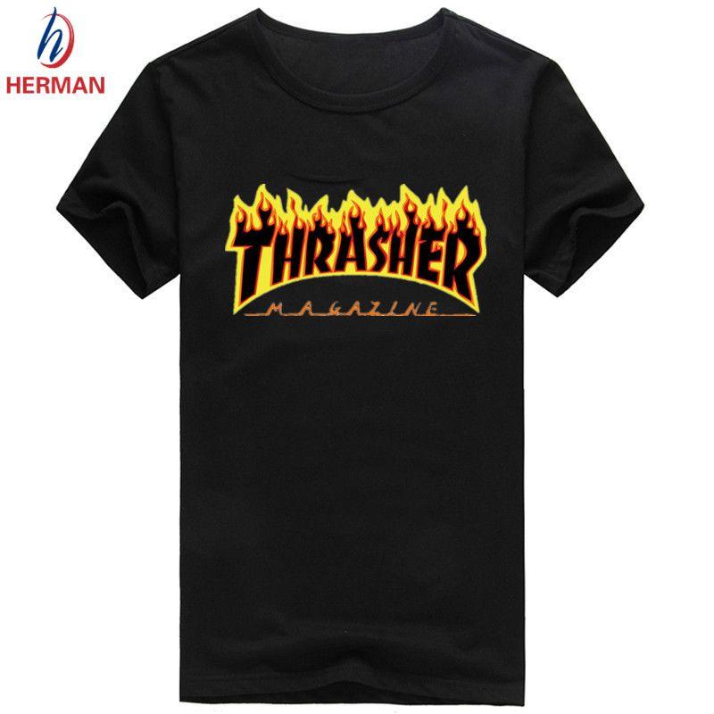 Trasherブランドプリントtシャツファッション2016スケートボードブランド服メンズスケートボード圧縮t