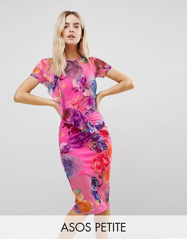 Printed Mesh Midi Dress With Frill Detail - Pink floral Asos SBQlofQaK
