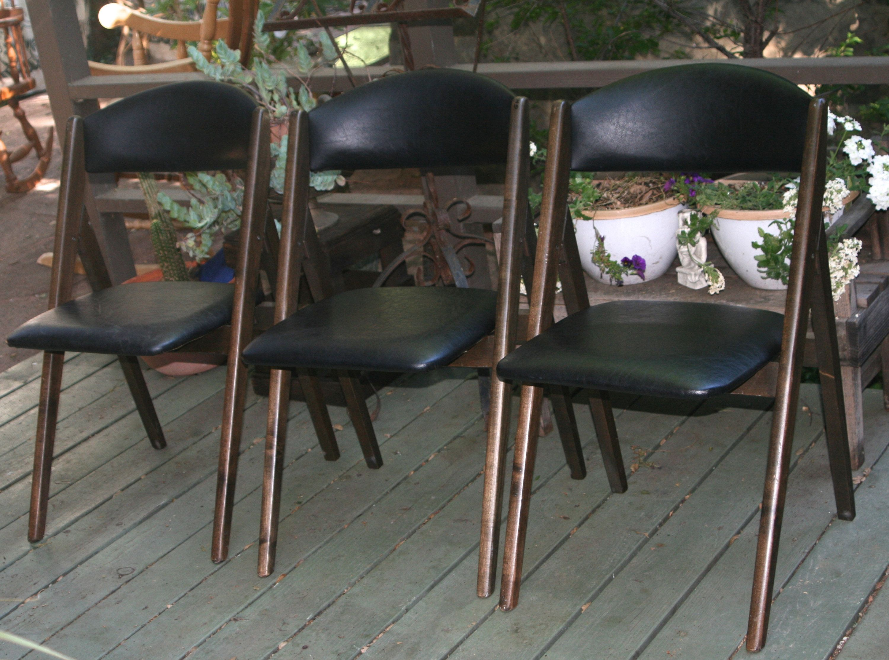 Stakmore Folding Chairs Vintage.Set Of 3 Vintage Mid Century Stakmore Folding Chairs Wood