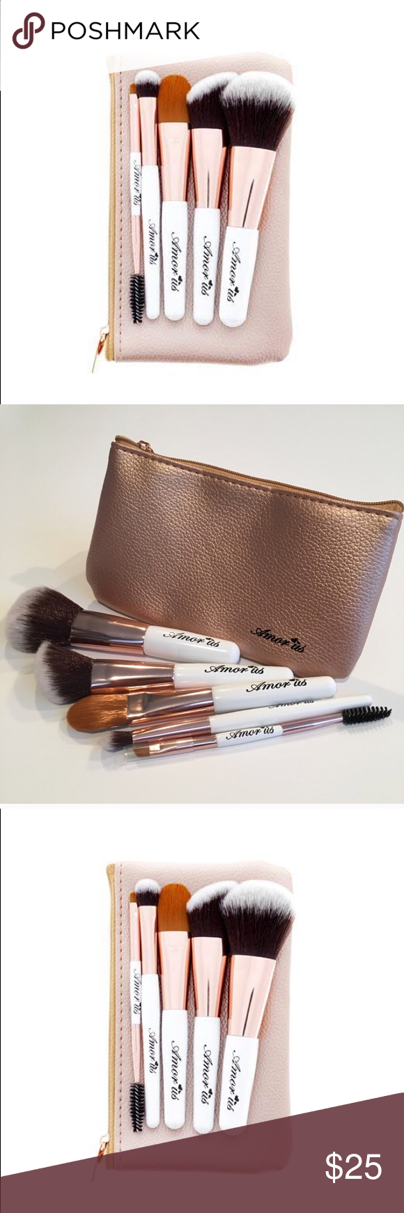 Vegan Petit Travel  essentials Makeup Brush Set This 5-Piece Set Petite Travel Essentials Makeup Brush Set will give flawless makeup while on the go. It features soft synthetic, cruelty free and vegan brushes accompanied by an adorable and snug rose gold brush pouch perfect for travel.  5-Piece Set Petite Travel Essentials Makeup Brush Set with Pouch Cruelty Free & Vegan Soft & Dense Synthetic Fibers Amorus USA Best Value amor us Accessories