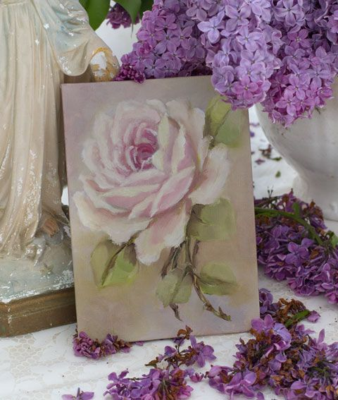 Rose painting original by Jo-Anne Coletti, vintage style rose prints, antique art roses