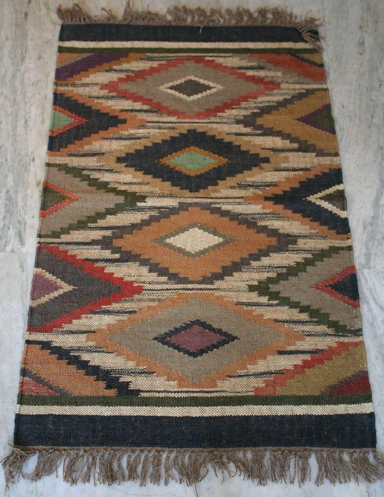 Hand Woven Turkish Anatolian Multi Color Boho Kilim Wool Jute Rug Size 30x48inch