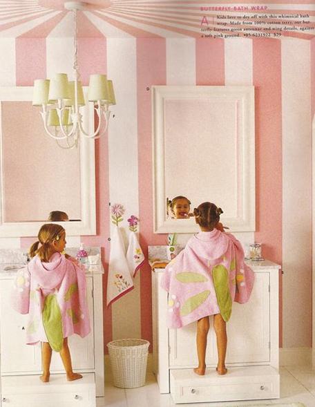Things I Like: Stripes. Little Girl BathroomsKid BathroomsBathroom IdeasGirl  ...