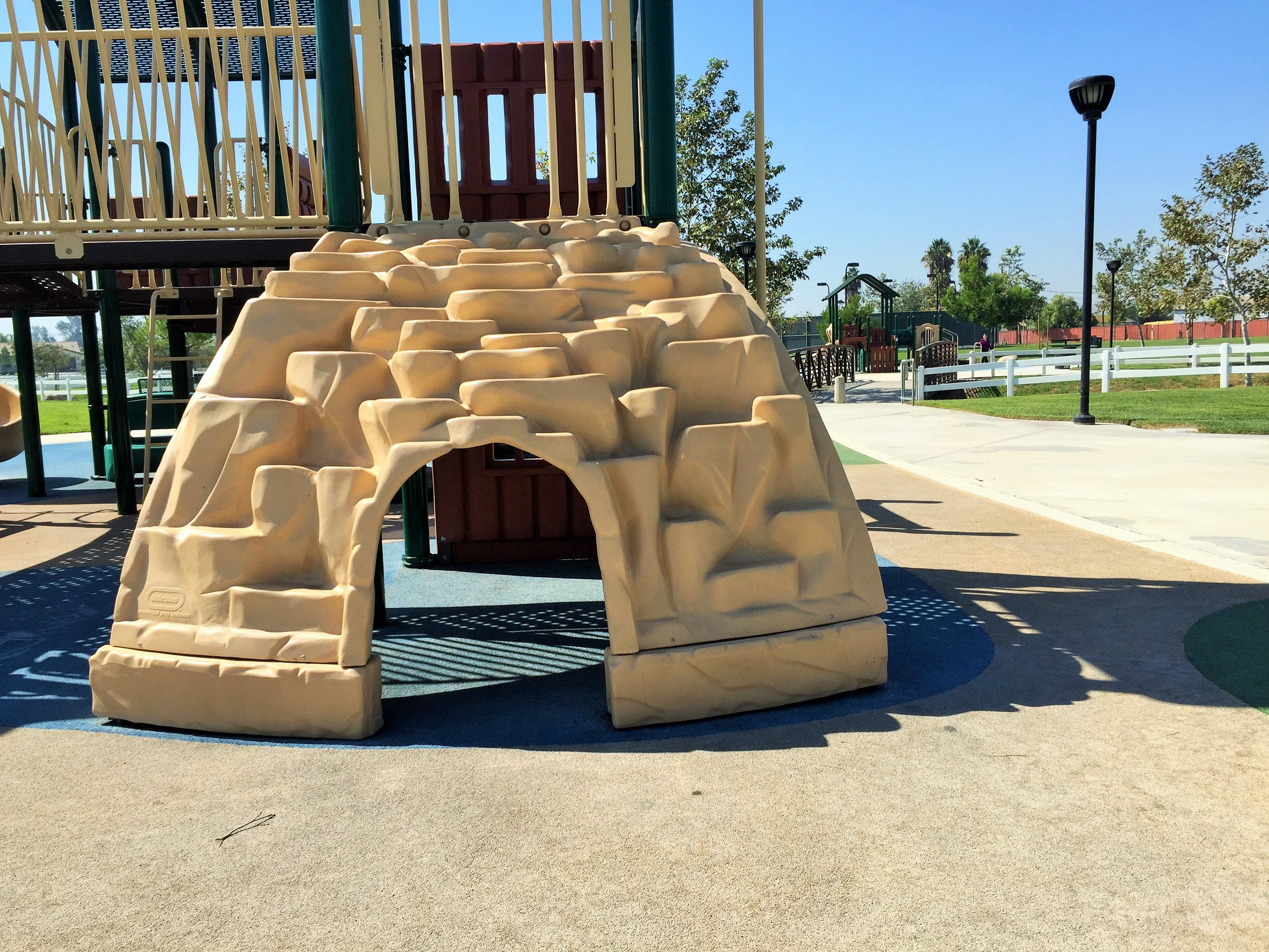 An igloo to climb and play on at the playground for big kids at Mountain View Park in Eastvale, California. http://youreastvalerealtor.com/eastvale-parks/