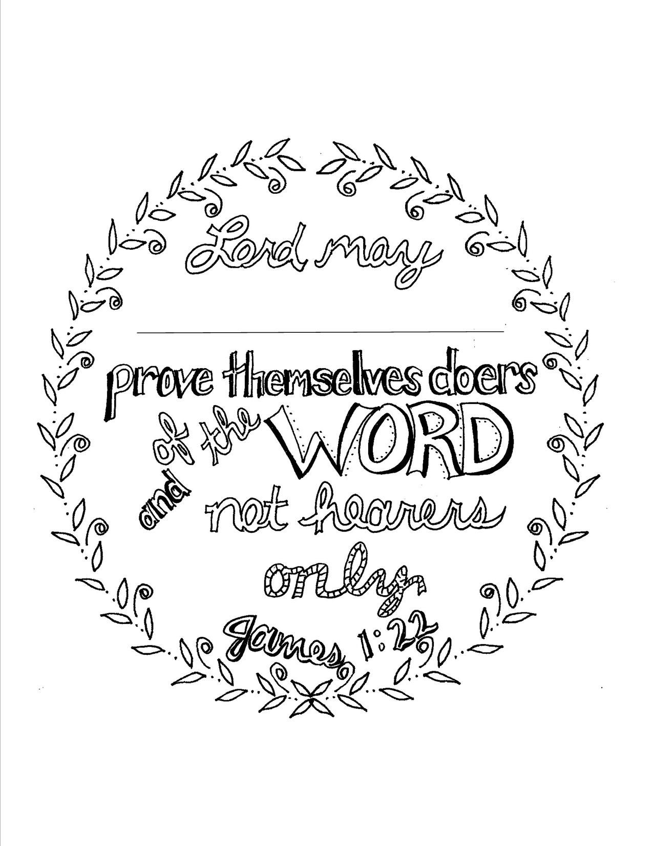 James 1:22 Scripture coloring page. Personalize | Coloring Book ...