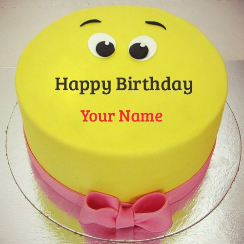 Funny Yellow Smiley Birthday Cake With Your NameCute Smiley Cake
