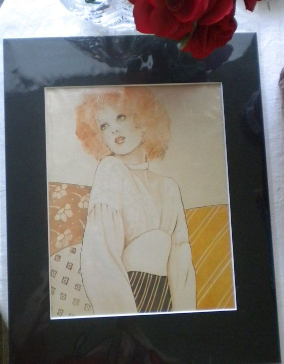 70's Woman Redhead Picture Great Look Matted Sealed by Craftyology