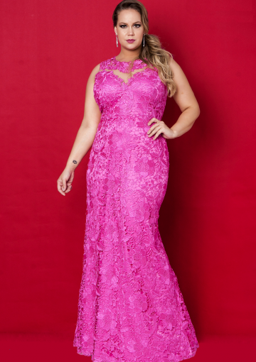 Buy Australia HotPink Round Neckline Lace Floor Length Plus ...
